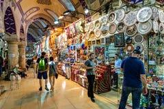 Inom den storslagna basaren i Istanbul Turkiet Fotografering för Bildbyråer