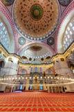 Inom den Suleymaniye moskén i Istanbul Turkiet Royaltyfri Bild