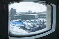 Inom det första sovjetiska kärn- - driven isbrytare'Lenin 'förtöjd för evigt i porten av Murmansk, Kolafjärden royaltyfria foton