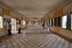 Inom det Tuol Sleng fängelset i Phnom Penh Royaltyfri Bild