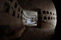 Inom duva-hus som byggs av turkiskt folk under tider av ottomanvälde, i Cappadocia duvor, länge varit har en källa av mat Arkivfoton