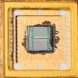 Inom en microprochip Arkivfoton