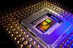 Inom en mikroprocessor fotografering för bildbyråer