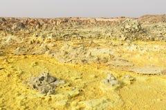 Inom explosionkrater av den Dallol vulkan Danakil fördjupning, Etiopien Arkivfoton