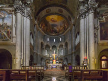Inom kyrka av San Fedele, Como, Italien, 12th århundrade Arkivbild