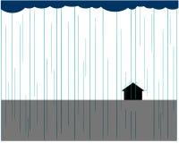 Inom sammans?ttningen ?r ett ensamt hus Fr?n molnen som h?ller h?llregn och nedg?ngar p? byggnaden vektor illustrationer