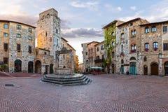 Inom San Gimignano Arkivbilder