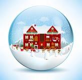 Inom Santa House (i den glass sfären) Arkivfoto
