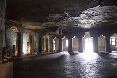 Inom templet av Ajanta Indien Arkivfoton