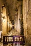 Inomhus av domkyrkan av Syracuse i Sicilien Arkivbild
