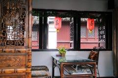 Inomhus av ett kinesiskt tehus Royaltyfri Foto