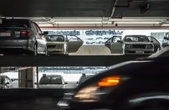 Inomhus bilparkering Arkivfoto