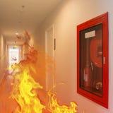Inomhus brand bröt ut att bränna i byggnaden royaltyfri fotografi