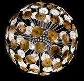 Inomhus dekorativ ljuskrona som skiner i vardagsrummet Royaltyfria Foton