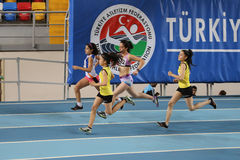Inomhus konkurrens för turkisk idrotts- ingång för federation olympisk Arkivfoto