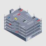 Inomhus mång--våning parkeringshus Arkivfoto