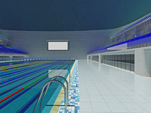 Inomhus olympisk simbassängarena med blåa platser Arkivbild
