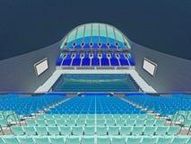 Inomhus olympisk simbassängarena med blåa platser Arkivfoto