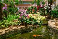 Inomhus sikt av folk som går i en liten trädgård med växter inom av den Singapore Changi flygplatsen flygplats changi singapore royaltyfri fotografi