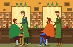 Inomhus sikt på frisersalongsalongen med barberaren stock illustrationer