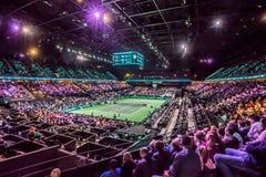 Inomhus stadion för överblick för tennisturnering Fotografering för Bildbyråer