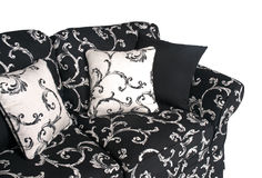 Inomhus utomhus- soffa i svartvita tyger Royaltyfri Foto