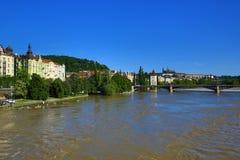 Inondant à Prague en juin 2013, Moldau, Prague, République Tchèque Photographie stock