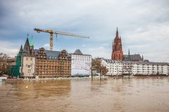 Inondation à Francfort Photos libres de droits