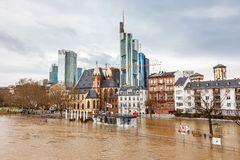 Inondation à Francfort Images libres de droits
