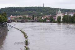 Inondation à Prague Photo libre de droits