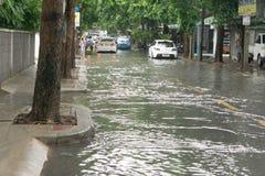 Inondation après la forte pluie en Thaïlande Photo libre de droits