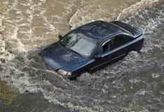 Inondation après tempête de grêle images stock