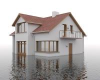 Inondation - bâtiment dans l'eau Image stock