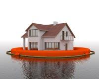 Inondation - bâtiment dans la bouée de sauvetage Photos stock