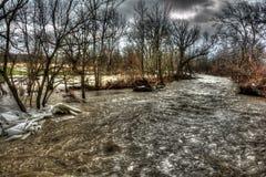 Inondation d'hiver Images libres de droits