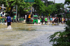 Inondation d'octobre 30.2011 Bangkok Photographie stock libre de droits