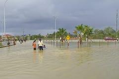 Inondation dans Rantau Panjang photo stock