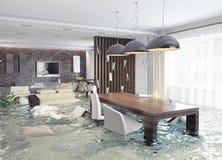 Inondation de l'intérieur Images libres de droits