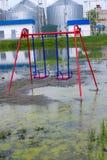 Inondation de la cour de jeu Images libres de droits