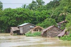 Inondation de mousson dans Myanmar 2015 Images libres de droits