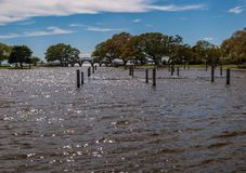 Inondation de parc d'h?ritage de Currituck apr?s temp?te photographie stock
