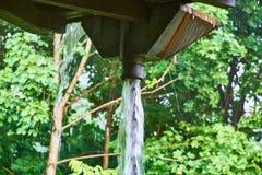 Inondation de pluie d'un tuyau de gouttière Images stock