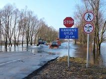 Inondation en Lithuanie Photographie stock libre de droits