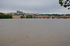 Inondation à Prague Photographie stock