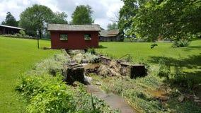 Inondation rouge de pont couvert Photos libres de droits