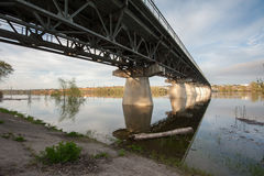 Inondation sur la rivière Akhtuba Photographie stock