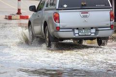 Inondation sur la rue près du marché dans le site industriel d'unité centrale de coup Images stock