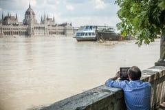 Inondations de Budapest Images libres de droits