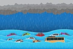 Inondazione del ‹del †del ‹del †della città, acqua in via della città, progettazione di vettore fotografie stock libere da diritti