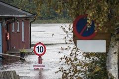 Inondazione del fiume Fotografie Stock Libere da Diritti